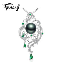 FENASY 925 sterling silver phoenix necklace,pearl jewelry chain necklace,Pearl necklaces & pendants Emerald Bohemian necklace(China)