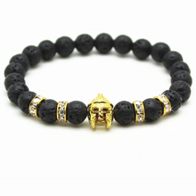 Buy Gold Roman Knight Spartan Warrior Gladiator Helmet Bracelet Men Black Lava Natual Stone Bead Bracelets Men Jewelry for $1.31 in AliExpress store