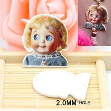 Kawaii baby girl Flat Back Resins charm for Hair Bows Cartoon Planar Resin with 2 hole 50pcs 32*28mm CRP133(China)