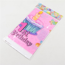 Cartoon Happy birthday table cloth theme supplies 1pcs  Party , Pink gift Cartoon Tablecloth Child Kids 1st Birthday Party Decor