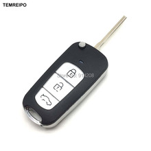 TEMREIPO 3 button modified key shell car remote control folding key blank case for hyundai elantra tucson sonata santa fe