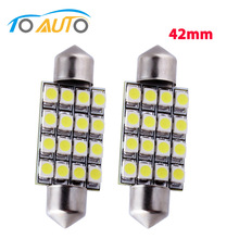 2pcs C5W LED 42mm 16 SMD Pure White Dome Festoon LED Car Light Bulb Auto Lamp Interior Lights styling car light source D0037