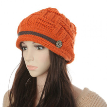 1Pcs Orange Elegant Lady Female Knitted Winter Cap Tuque Skullies Bonnet Winter Hats For Women Knitted Hats Beanie Women Gorros(China)