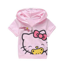 Children's Wear Hello Kitty Children Cartoon Short Sleeved Hooded Tracksuit For Girls Outfits Cotton Suit For Kids Clothes Set