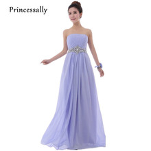 Lavender Bridesmaid Dress Long Chiffon Strapless With Luxury Beading Elegant Cheap Prom Party Dress Under 50 Vestidos De Fiesta