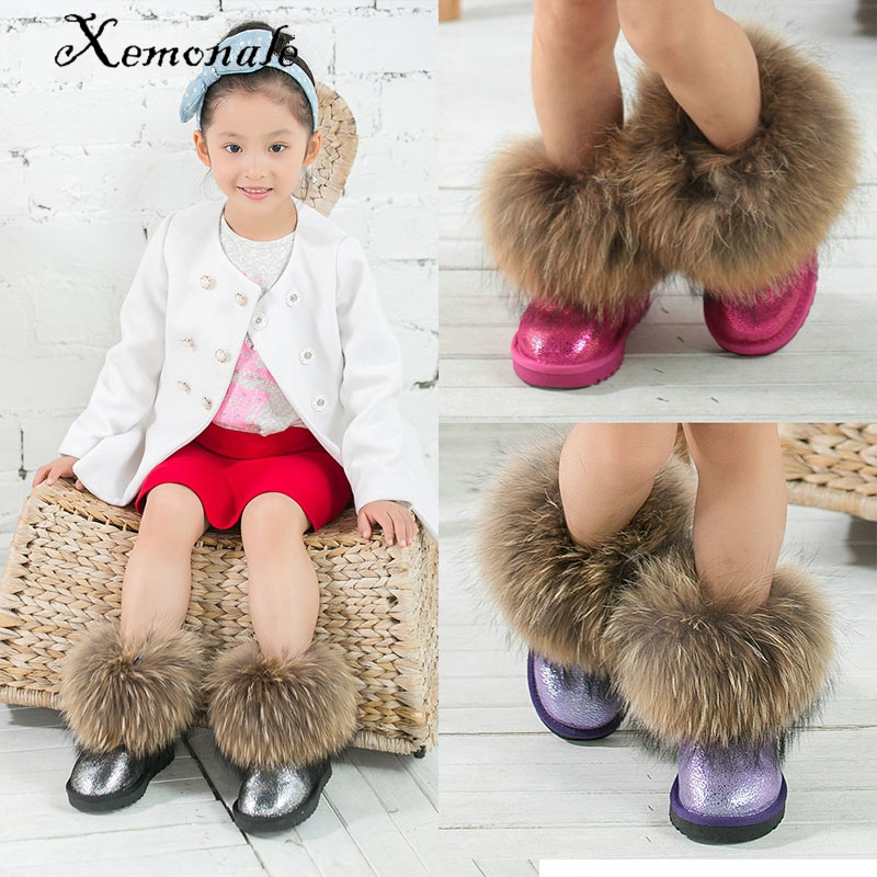 Xemnole winter fashion snow boots toddler genuine leather boots for baby girls brand  mid calf boots children black shoes<br>