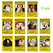 11 pcs/set ONE PIECE poster Anime OP wanted Luffy Roux Ace Nami Chopper Zoro Brook Robin Sanji posters 42x29cm free shipping