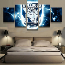 5 Panel Bulldogs Sports Team Logo Fans Oil Painting On Canvas Modern Home Pictures Prints Liveing Room Deco Fans Posters Bedroom