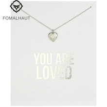 Hot Sale Sparkling Heart make a wish plated Pendant necklace Clavicle Chains Necklaces Women FOMALHAUT Jewelry(China)