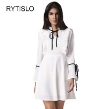 RYTISLO Female Spring A-Line Cute Dress Fashion Ruffles Bow Tie Flare Sleeve High Waist Sexy Dresses Top Quality Dresses