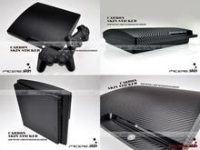 Black Carbon Fiber Vinyl Skin Sticker Protector for Sony PS3 Slim PlayStation 3 Slim and 2 controller skins Stickers(China)