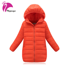 New Brand 2017 Fashion Children's Down Jackets Coats Solid Cotton-padded Girls Warm Winter Coat Jacket Children Outerwear 4-13Y