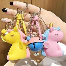 Cartoon Fluffy Rabbit Fur Pom Pom Cute Animal Unicorn Horse Keychain Doll  Bell Key Ring Women. 12 Colors Available 7d495eb8811e