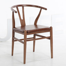 Wishbone Dining Chair Y Chair Style PU Seat Cushion Solid Ash Wood Frame Dark Brown Finish Dining Room Furniture Modern Chair