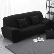 Black Elastic Stretch Sofa Cover L Shaped Slipcover Slip-resistant Chair Couch Sofa Cover Set For Living Room Protector(China)