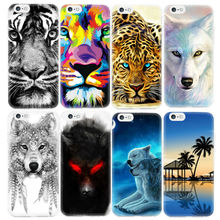 Animals Lion Tiger Wolf Pattern Soft TPU Silicone Case Cover for iPhone SE 5 5S 6 6S 7 Plus Phone Cases Cartoon Capa Coque