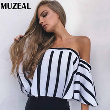 Buy MUZEAL Summer Sexy Girls Stripe Slash Neck Blouse Chiffon Flare Sleeve Shoulder Lady Top Shirts Night Club Party Blusas 46 for $11.48 in AliExpress store