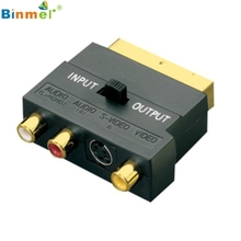 Superior Quality SCART Adaptor AV Block To 3 Phono Composite or S-Video With In/Out Switch GOLD Feb22