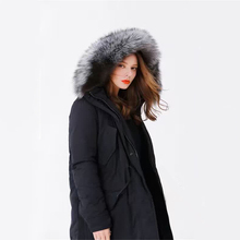 Goose Down Jacket Women Winter Coat Luxury Natural Fox Fur Collar Loose Warm Parkas Hooded Long Coat Thick Outerwear  LX157