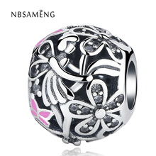 Authentic Original S925 Sterling Silver Charms Dragonfly Butterfly Flower Pink Enamel CZ Crystal Beads Fit Pandora Bracelets