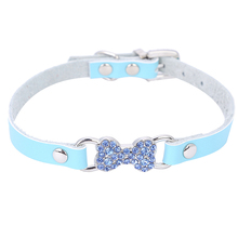 Genuine Leather Dog Collar Cute Coloured Diamond Rhinestone Bone Charm Cat Puppy Small Dog  Collars 4 Colors Free Shipping