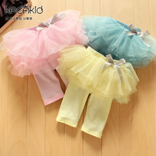 2016 new Children Kid Girls Culottes Gauze Short Pants Skirts Bow Tutu Dress Leggings
