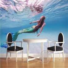 beibehang custom photo wallpaper for walls 3 d Art HD Mermaid clear sea swim living room backdrop 3d large wall mural wallpaper(China)