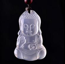 Natural ice kind agate chalcedony Buddha public pendant necklace big day like jade pendants Buddha pendant jade pendant(China)