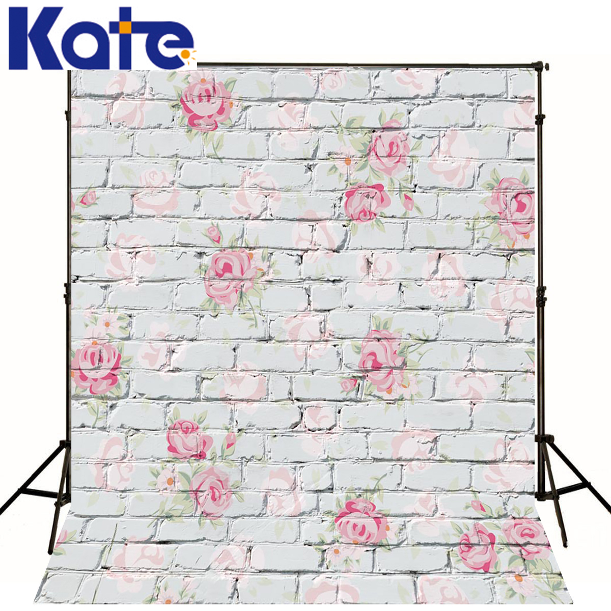 5x7ft Newborn Backdrop Blue Brick Wall Baby Studio Pink Flowers Background For Photos White Brick Flower Photography Backdrops<br>