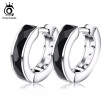 ORSA JEWELS 2017 Top Quality Fashion Black Natural Stone Earring Lead & Nickel Free Silver Color Earrings Will Not Changed OE83(China)