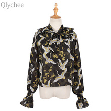 Qlychee Swan Print Bow tie Chiffon Tops Women OL Style V Neck Long Sleeve Vintage T Shirts