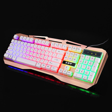 USB Wired Metal Gaming Keyboard Suspended Keycaps LED Backlight Switch Teclado Gamer with Similar Mechanical Touch Feel DOTA LOL(China)