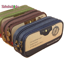 Navy Style Classic Retro Zipper Compartment Large Capacity School Pencil Case Bag Student Stationery Pen Case School Supplies(China)