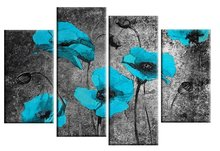 Large Turquoise Black Poppies Grunge Floral 100% Hand-painted Oil Painting on Canvas Wall Art Abstract Artwork Framed Home