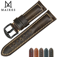 MAIKES New fashion watch bracelet watchbands 22mm 24mm 26mm vintage oil wax leather watch strap for Panerai watch band(China)