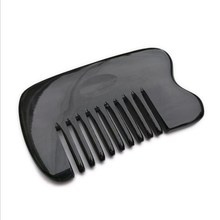 Hot Sale Portable Natural Buffalo Horn Wide Tooth Comb Hair Care Head Messager Relax Comb Black Newest Handmade Healthy Brush
