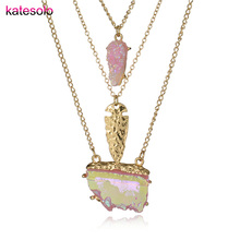 Women Gold Color Arrow Pendant Necklace Fashion Long Chain Stone Pendants 3 Layer Necklace Jewelry