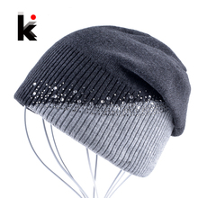 Winter Knitted Hat Women Rhinestones Color Stitching Beanies Caps Ladies Outdoors Skies Bonnet Hat Girls Skullies Touca Inverno(China)