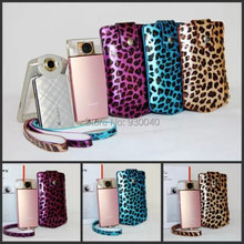 Yellow/Blue/Purple Leopard Leather Camera Case Camera Case Bag for Sony TR500 Univesal Free Shipping(China)