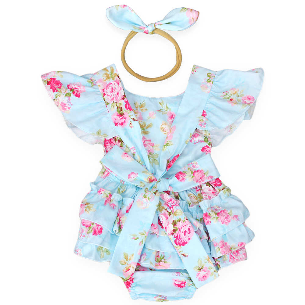 2271a3a49c7 Detail Feedback Questions about 2019 new style baby girls summer clothes  ruffle romper headband infantil jumpsuit new born baby clothes roupa  infantil ...