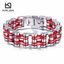 Kalen Cool Men Biker Bicycle Motorcycle Chain Male Bracelets & Bangles Fashion 3 Color 316L Stainless Steel Bike Chain Jewelry