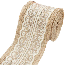 2M*6CM Burlap Beige Lace Ribbon Sewing Tape Natural Jute Hessian Roll Burlap Trims Tape Rustic Wedding Party Decor Craft