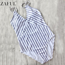 ZAFUL Sexy Women Beachwear One Piece Swimwear Striped Slimming Strappy Swimsuit Monokini Female Bathing Suit Bodysuit