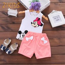 Newborn Baby Girl Summer Clothes 2017 Casual Cartoon Mickey Rabbit Vest +Shorts Pants Girls Clothing Sets Kids Children Brands