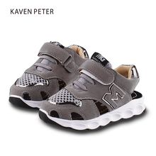 2017 summer kids sports shoes closed toe toddler girls boys sandals orthopedic sport pu leather air mesh baby boys sandals shoes(China)