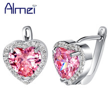 Almei 5% Off Fashion Heart Brincos Silver Color Pink Heart Earrings for Women Wedding Bridal Stud Earring Pink Red Stones R719