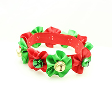 Armi store Handmade Christmas Dog Grooming Accessories 6042005 Festival Bell Collars Ribbon  Pet Boutique Wholesale.