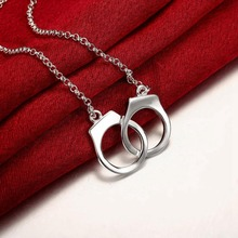 Women Handcuffs Pendant Necklaces Silver Color Jewelry 45CM Link Chain Stainless Steel Necklace for Girls Jewelry(China)