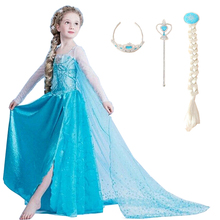 2017 Girls Dresses Elsa Dress Princess Movie Cosplay Party Dress Vestidos fantasia Anna Elsa Costumes For Children Kids Clothes(China)