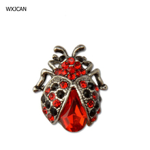 WXJCAN Antique silver color red crystal glass ladybug brooches for women Insect brooch jewelry Brooch for clip shawl scarf B2001(China)